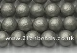 CSB2490 15.5 inches 4mm round matte wrinkled shell pearl beads