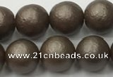 CSB2513 15.5 inches 10mm round matte wrinkled shell pearl beads