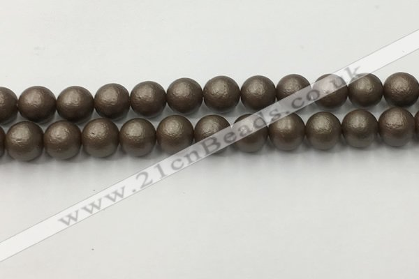 CSB2514 15.5 inches 12mm round matte wrinkled shell pearl beads