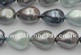 CSB417 12*15.5mm faceted teardrop mixed color shell pearl beads