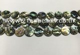 CSB4171 15.5 inches 14*14mm coin abalone shell beads wholesale
