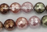 CSB504 15.5 inches 16mm faceted round mixed color shell pearl beads