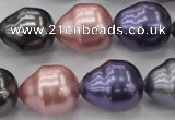 CSB573 15.5 inches 16*19mm whorl teardrop mixed color shell pearl beads