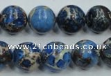 CSE51 15.5 inches 14mm round dyed natural sea sediment jasper beads