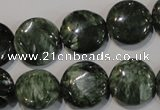 CSH124 15.5 inches 16mm flat round natural seraphinite gemstone beads