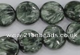 CSH52 15 inches 14mm flat round natural seraphinite gemstone beads