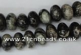 CSI08 15.5 inches 8*12mm rondelle silver scale stone beads wholesale