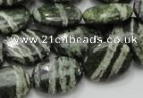 CSJ53 15.5 inches 15*20mm oval green silver line jasper beads