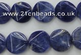 CSO03 15.5 inches 15mm faceted coin A grade sodalite beads