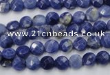 CSO35 15.5 inches 6mm faceted coin sodalite gemstone beads