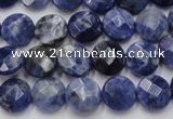 CSO37 15.5 inches 10mm faceted coin sodalite gemstone beads