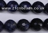 CSO415 15.5 inches 14mm faceted round dyed sodalite gemstone beads
