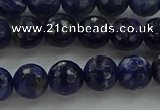 CSO643 15.5 inches 8mm faceted round sodalite gemstone beads