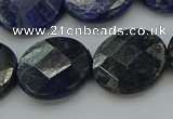 CSO709 15.5 inches 18mm faceted coin sodalite gemstone beads
