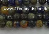 CSO751 15.5 inches 6mm faceted round orange sodalite beads