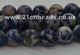 CSO802 15.5 inches 8mm round matte orange sodalite gemstone beads