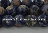 CSO803 15.5 inches 10mm round matte orange sodalite gemstone beads