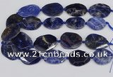 CSO824 15.5 inches 25*35mm - 30*40mm faceted freeform sodalite slab beads
