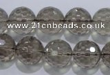 CSQ106 15.5 inches 16mm faceted round grade AA natural smoky quartz beads