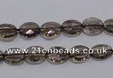 CSQ117 8*10mm facetad oval grade AA natural smoky quartz beads