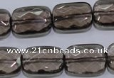 CSQ119 15*20mm facetad rectangle grade AA natural smoky quartz beads