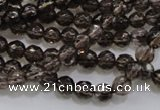 CSQ130 15.5 inches 6mm faceted round grade AA natural smoky quartz beads