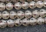 CSQ501 15.5 inches 6mm faceted round matte smoky quartz beads