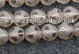 CSQ504 15.5 inches 12mm faceted round matte smoky quartz beads