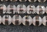 CSQ508 15.5 inches 10mm faceted round matte smoky quartz beads