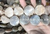 CSS441 15.5 inches 30mm twisted coin sunstone beads wholesale