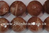 CSS511 15.5 inches 19mm faceted round natural golden sunstone beads