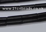 CTB318 15.5 inches 4*13mm tube black stone beads wholesale