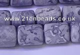 CTB570 15.5 inches 10*13mm triangle matte grey picture jasper beads