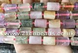 CTB622 15.5 inches 11*16mm - 12*18mm faceted tube mixed quartz beads