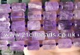 CTB651 15.5 inches 12*16mm faceted tube amethyst beads