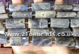 CTB674 14*27mm - 15*28mm faceted flat tube labradorite beads