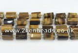 CTB874 13*25mm - 14*19mm faceted tube yellow tiger eye beads