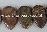 CTD09 Top drilled 22*30mm flat teardrop jasper gemstone beads