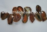 CTD1518 Top drilled 20*50mm - 30*65mm freeform agate slab beads