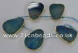 CTD1602 Top drilled 35*40mm - 35*45mm freeform agate beads