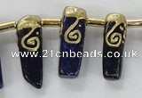 CTD1927 Top drilled 8*20mm - 10*35mm sticks lapis lazuli beads