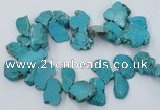 CTD2014 Top drilled 20*25mm - 30*35mm freeform turquoise beads