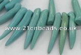 CTD2037 Top drilled 5*15mm - 6*40mm sticks turquoise beads