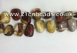 CTD2149 Top drilled 15*25mm - 18*25mm freeform mookaite beads