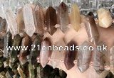 CTD2241 10*22mm - 12*45mm faceted nuggets mixed rutilated quartz beads