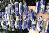 CTD2247 Top drilled 10*22mm - 12*45mm faceted nuggets sodalite beads