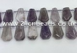CTD2356 Top drilled 16*18mm - 20*30mm faceted freeform amethyst beads