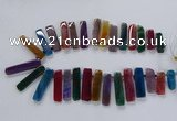 CTD2522 Top drilled 10*25mm - 12*50mm sticks agate gemstone beads