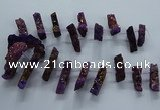 CTD2579 Top drilled 10*30mm - 10*50mm sticks plated druzy agate beads