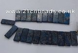 CTD2663 Top drilled 18*45mm - 20*48mm rectangle sea sediment jasper beads